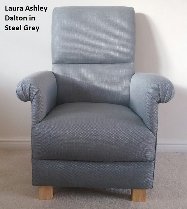 Laura Ashley Dalton Steel Grey Fabric Adult Chair Armchair Nursery Bedroom