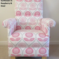 Laura Ashley Sunflowers Fabric Chair Raspberry Pink Armchair Floral Bedroom