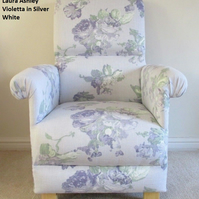 Laura Ashley Violetta Silver Fabric Adult Chair Lilac Armchair Bedroom Floral