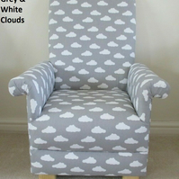 Grey White Clouds Children's Chair Armchair Nursery Small Kids Bedroom New