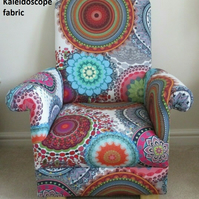 Kaleidoscope Fabric Children's Chair Kids Armchair Retro Style Nursery Bedroom