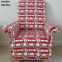 London Red Bus Fabric Children's Chair Kids Armchair Buses Capital Coach Nursery