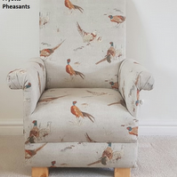 Fryetts Pheasants Fabric Children's Chair Kids Armchair Nursery Bedroom Beige