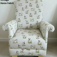 Vintage Hares Fabric Children's Chair Armchair Rabbits Bunnies Animals Kids