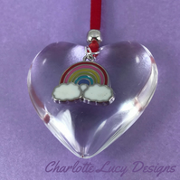 Glass heart rainbow tree decoration Christmas bauble red ribbon