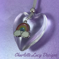 Glass heart rainbow tree decoration Christmas bauble silver ribbon