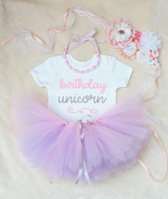 Birthday Unicorn Baby Girls Outfit Set Pink & Lilac Tutu