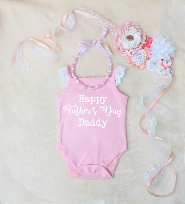 Happy Father's Day Daddy Onesie And Necklace Set Outfit