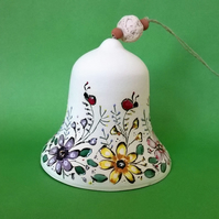 Ceramic bell, Pottery bell, Flower bell, Easter bell, Easter decoration,Handmade