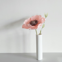 Pink Paper Poppy Flower & Greenery - Pretty Decorative Spring Floral Arrangment