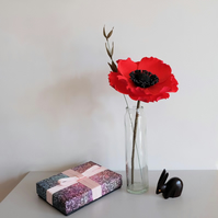 Red Poppy Flower & Greenery - Paper Sculpture
