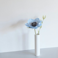 Blue Anemone Paper Flower & Greenery - Spring Floral Decoration