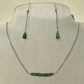 Emerald and Sterling silver Necklace and Earrings Set. Mays Birthstone