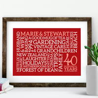 Ruby Anniversary Word Art - Personalised Word Cloud - PRINTED AN404