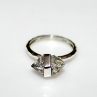 Herkimer Diamond Ring in Sterling Silver, Unique Herkimer diamond ring