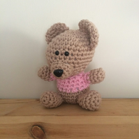 Small Teddy Bear Toy - Pink - 100% Cotton - Ready to be shipped