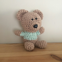 Small Teddy Bear Toy - Green 100% Cotton Crochet Amigurumi  Ready to be shipped