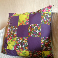 pretty darling handmade floral woodland patchwork cushion