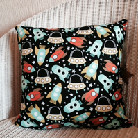pretty darling space ship themed cushion for play room nursery