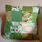 pretty darling green moda fabric cushion