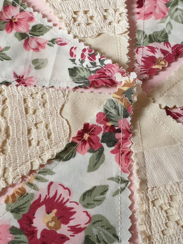 Handmade rosey in the garden bunting 2.5 metres upcycled vintage linen