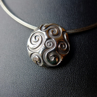 Fine silver lentil bead necklace