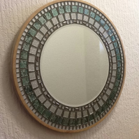 Teal and silver circular mosaic mirror