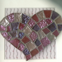 Decorative mosaic heart in box frame