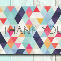Inspirational quote postcard - Thank you geometric design