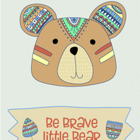 Inspirational quote postcard - Be brave little bear tribal woodland animal