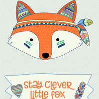 Inspirational quote postcard - Stay clever little fox tribal woodland animal