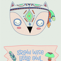 Inspirational quote postcard - Grow wise little owl tribal woodland animal