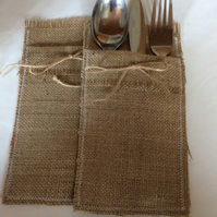 Hessian Cutlery holders pack of 2