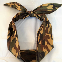 Camouflage rockabilly headband