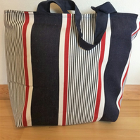 Striped Canvas tote Shopping bag