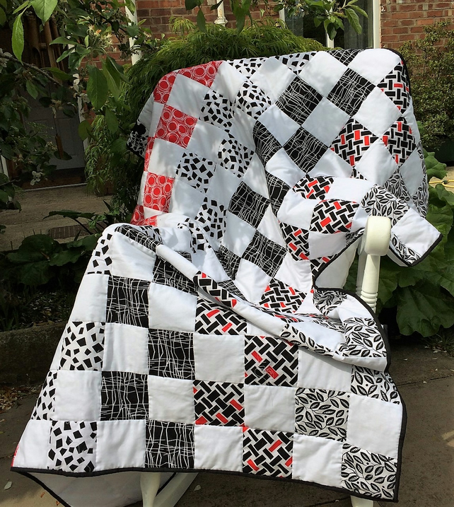 Patchwork quilt black white and red contemporary