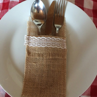 Hessian & Lace Cutlery holders Pack of 4
