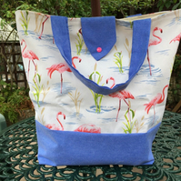 Flamingo tote shopping bag