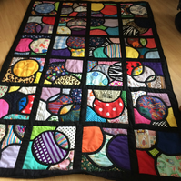 Stained glass window patchwork quilt