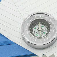 Personalised travel compass and paperweight in presentation box