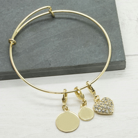 Gold plated personalised bracelet with heart charm