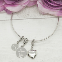 Silver plated personalised bracelet with heart charm
