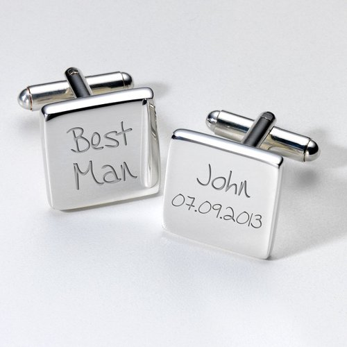 Best man personalised cufflinks in luxurious chrome box