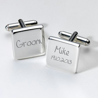 Groom personalised cufflinks in luxury box
