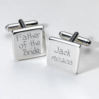 Father of the Bride personalised cufflinks in luxury chrome box