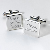 Father of the Groom personalised cufflinks in luxury chrome box