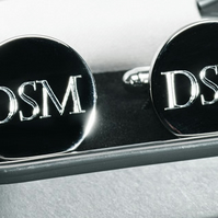 Personalised initials round cufflinks in luxury chrome box