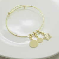 Gold plated personalised bracelet with star charm
