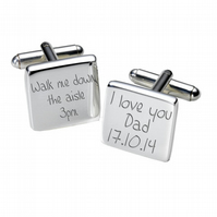 Walk Me down the Aisle square cufflinks in luxurious chrome box