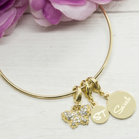 Gold plated personalised bracelet with butterfly charm